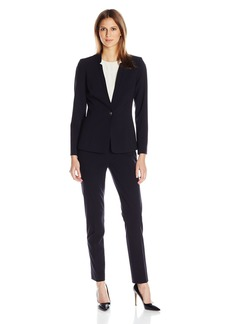 Tahari by Arthur S. Levine Women's Missy Bi Stretch Button Closure Pant Suit