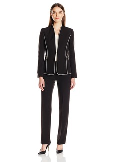 Tahari by Arthur S. Levine Women's Missy Crepe Pant Suit with Piping Details