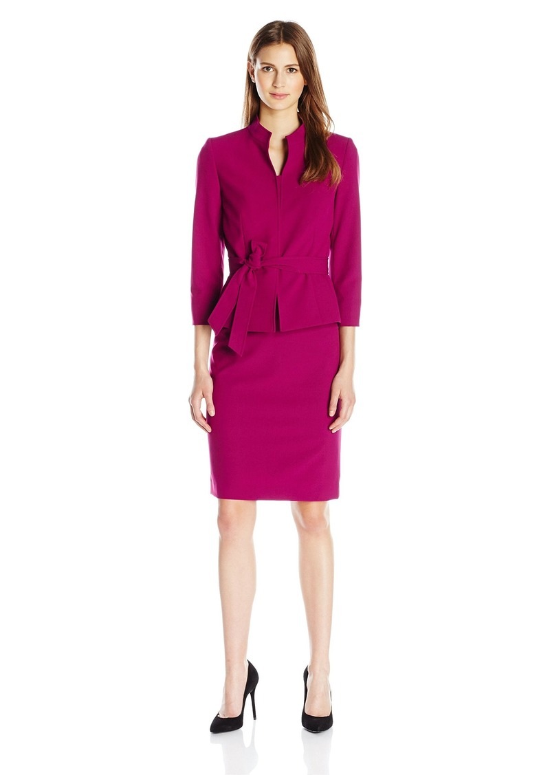 Tahari by Arthur S. Levine Women's Missy Crepe Skirt Suit with Self Tie
