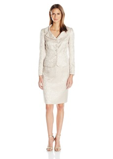 Tahari by Arthur S. Levine Women's Missy Jacquard Button Front Skirt Suit