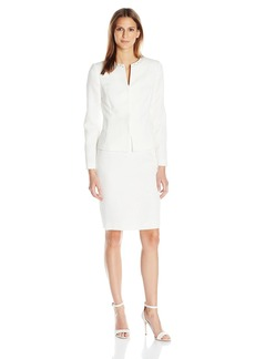 Tahari by Arthur S. Levine Women's Missy Jacquard Skirt Suit with Beading