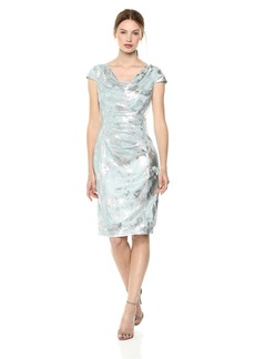 Tahari by Arthur S. Levine Women's Novelty Foil Dress ice Blue/Silver