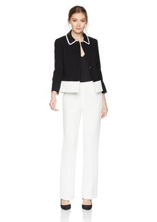 Tahari by Arthur S. Levine Women's Novelty Textured Long Sleeve Jacket Pant Suit
