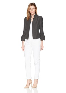 Tahari by Arthur S. Levine Women's Novetly Long Sleeve Jacket with Stand Collar Pant Suit
