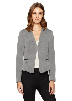 Tahari by Arthur S. Levine Women's Novetly Open Jacket With Side Zippers Black/Ivory