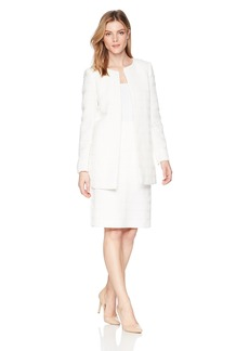 Tahari by Arthur S. Levine Women's Novetly Textured Long Sleeve Topper Jacket Skirt Suit