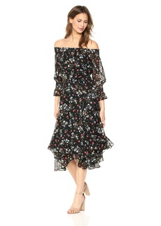 Tahari by Arthur S. Levine Women's Off The Shoulder Swiss DOTT Dress