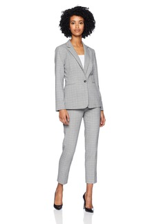 Tahari by Arthur S. Levine Women's One Button Notch Collar Besom Pocket Plaid Pant Suit