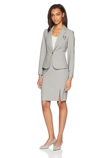 Tahari by Arthur S. Levine Women's One Button Notch Collar Chain PIN Detail Skirt Suit