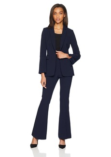 Tahari by Arthur S. Levine Women's One Button Peak Lapel Flared Sleeve Crepe Pant Suit