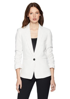 Tahari by Arthur S. Levine Women's One Button Pintstripe Jacket with Rouched Sleeve