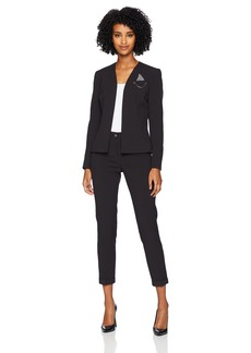 Tahari by Arthur S. Levine Women's Open Front Collarless Pin Detail Striped Pant Suit