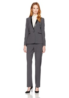 Tahari by Arthur S. Levine Women's Pant Suit with Faux Leather Trim