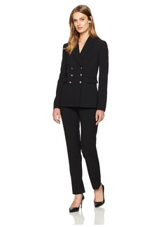 Tahari by Arthur S. Levine Women's Pebble Crepe Double Breasted Pant Suit