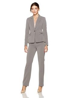 Tahari by Arthur S. Levine Women's Pebble Crepe One Button Pant Suit