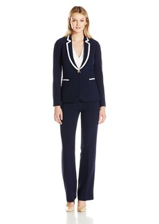 Tahari by Arthur S. Levine Women's Pebble Crepe Pant Suit With Contrast Collar