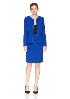 Tahari by Arthur S. Levine Women's Pebble Crepe Peplum Skirt Suit