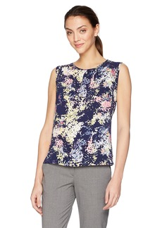 Tahari by Arthur S. Levine Women's Pebble Crepe Printed Top  M