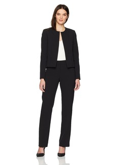Tahari by Arthur S. Levine Women's Pebble Crepe Scalloped Long Sleeve Jacket Pant Suit