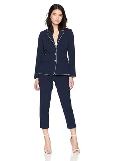 Tahari by Arthur S. Levine Women's Petite 2 Button Jacket with Turn up Collar Pant Suit  4P