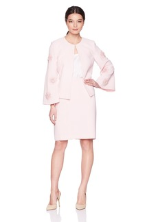 Tahari by Arthur S. Levine Women's Petite Crepe Skirt Suit with Flower Embellishment on Sleeve  10P