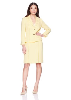 Tahari by Arthur S. Levine Women's Petite Crepe Two Button Skirt Suit With Threaded Cutouts  0P