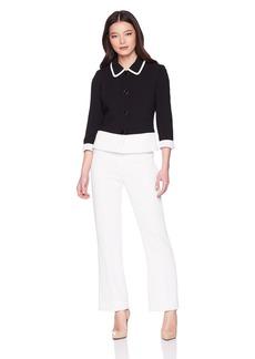 Tahari by Arthur S. Levine Women's Petite Novelty Textured Long Sleeve Jacket Pant Suit
