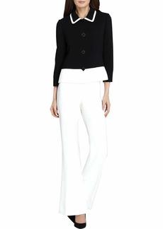 Tahari by Arthur S. Levine Women's Petite Novelty Textured Long Sleeve Jacket Pant Suit  6P