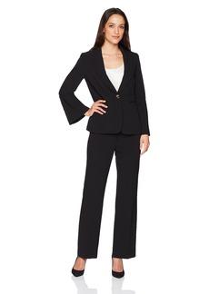 Tahari by Arthur S. Levine Women's Petite Pebble Crepe Flare Sleeve Pant Suit  2P