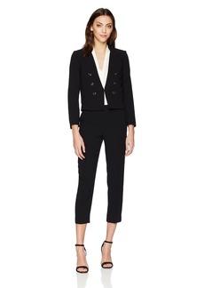 Tahari by Arthur S. Levine Women's Petite Petitecrepe Miltary Style Long Sleeve Jacket Pant Suit  4P