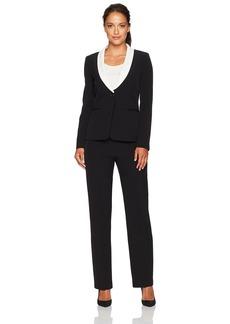 Tahari by Arthur S. Levine Women's Petite Size Black Crepe One Button Pant Suit  14P