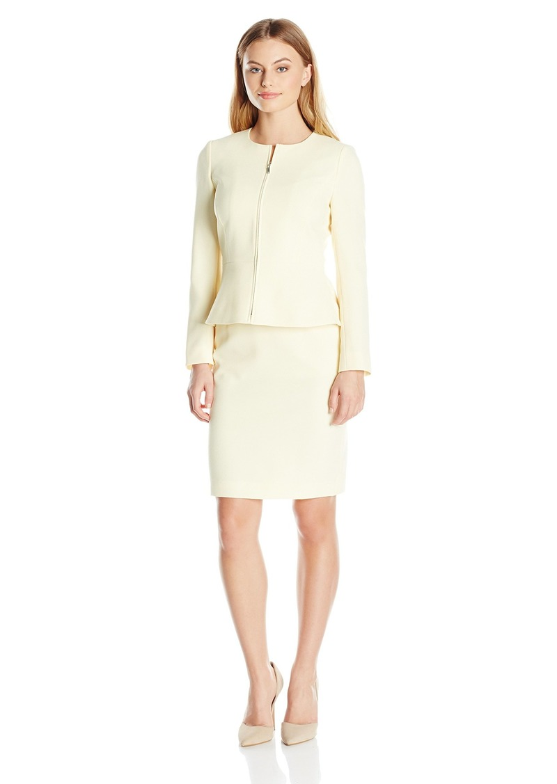 Tahari by Arthur S. Levine Women's Petite Size Pebble Crepe Zip Front Peplum Skirt Suit