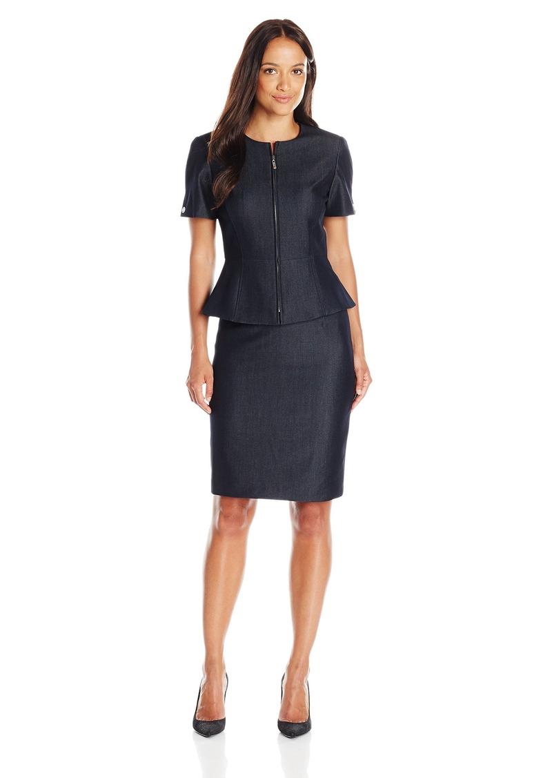 Tahari by Arthur S Levine Womens Petite Size Denim Short Sleeve Skirt Suit