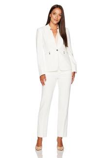 Tahari by Arthur S. Levine Women's Petite Size  Stretch Crepe One Button Pant Suit