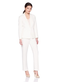 Tahari by Arthur S. Levine Women's Petite Twill Long Sleeve One Button Closure Jacket Pant Suit  8P