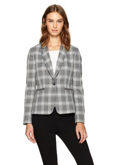 Tahari by Arthur S. Levine Women's Plaid One Button Jacket