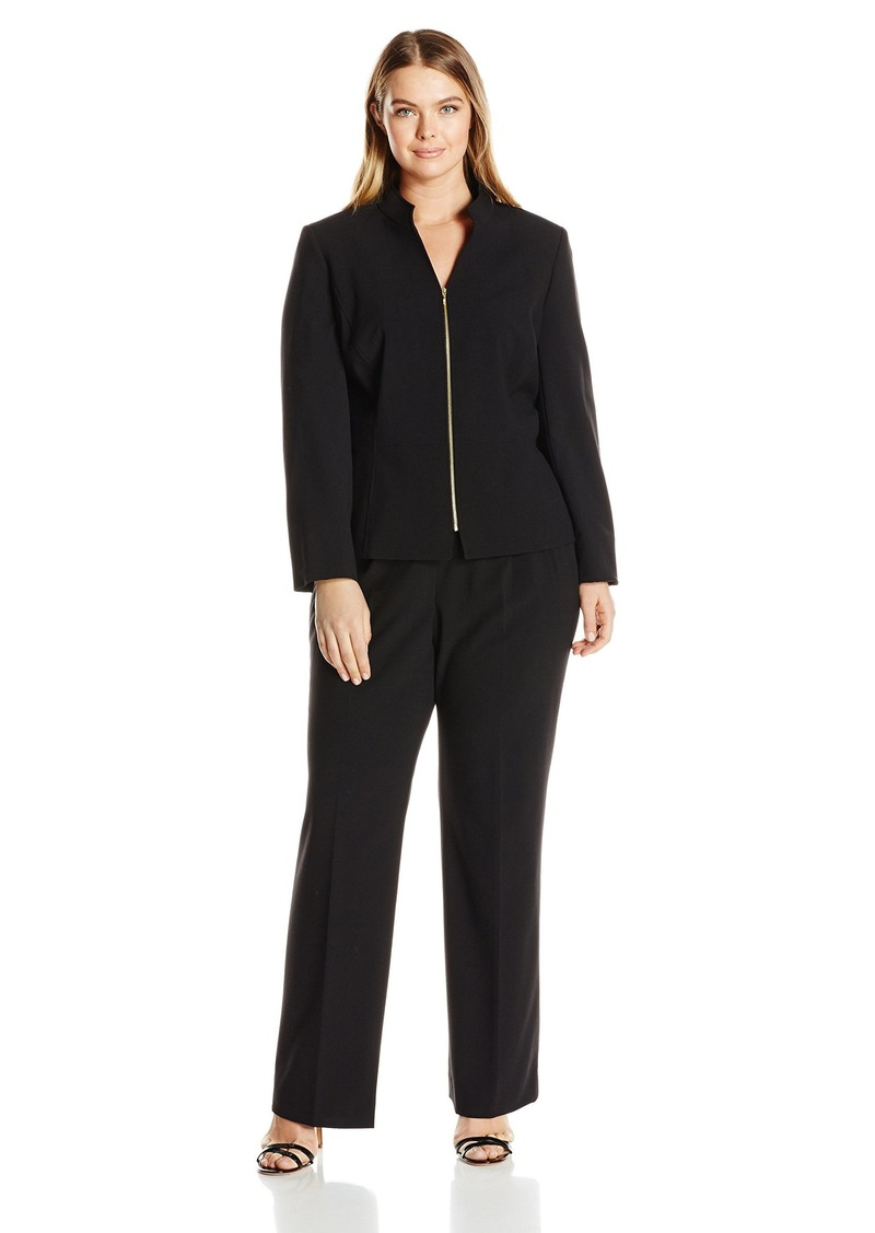 47f08e1aff098 Tahari by Arthur S. Levine Women's Plus Size Bi Stretch Zip Front Pant Suit