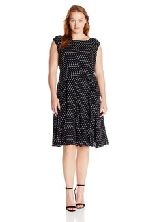 Tahari by Arthur S. Levine Women's Plus Size Cap Sleeve Polka Dot Dress  W