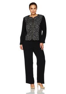 Tahari by Arthur S. Levine Women's Plus Size  Laser Cut Crepe Pant Suit with Zipper Front