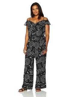 Tahari by Arthur S. Levine Women's Plus Size Printed Bandana Jumpsuit