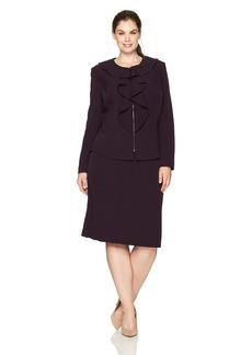 Tahari by Arthur S. Levine Women's Plus Size Ruffle Front Zip Skirt Suit  22W