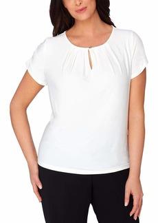 Tahari by Arthur S. Levine Women's Plus Size Shirred Short Sleeve Matte Jersey Knit Top