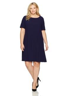 Tahari by Arthur S. Levine Women's Plus Size Short Sleeve Drop Waist Dress with Flounce Skirt