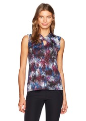 Tahari by Arthur S. Levine Women's Printed Blouse with Twist Neck Opening  XL