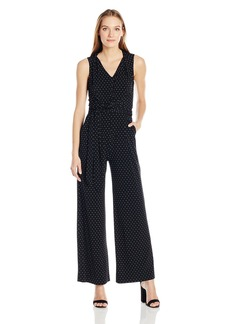 Tahari by Arthur S. Levine Women's Printed Dot Wrap Jumpsuit Black/Ivory