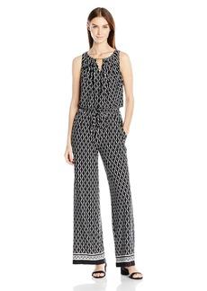 Tahari by Arthur S. Levine Women's Printed Jersey Blouson Jumpsuit