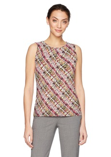 Tahari by Arthur S. Levine Women's Printed Matte Jersey Top  L