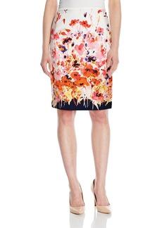 Tahari by Arthur S. Levine Women's Printed Poplin Pencil Skirt