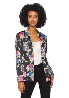 Tahari by Arthur S. Levine Women's Printed Satin Long Sleeve One Button Jacket