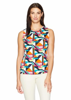 Tahari by Arthur S. Levine Women's Printed Shirred Neck Sleeveless Matte Jersey top  M